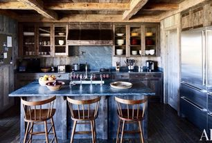 Country Kitchen with European Cabinets, Breakfast bar, L-shaped, Exposed beam, Slate counters, Custom hood, Flush, Slate