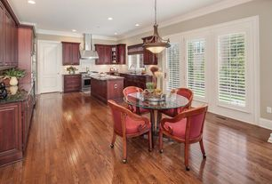 Traditional Kitchen with Glass panel, Simple granite counters, Hardwood floors, Breakfast nook, Flush, specialty door
