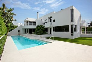 Contemporary Swimming Pool with Lap pool, French doors, Fence