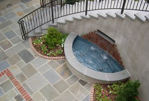 Traditional Patio with Pathway, Fountain, exterior stone floors, Pond