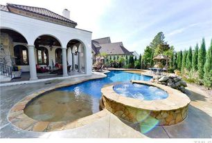 Mediterranean Swimming Pool with Arched window, Fence, Pool with hot tub, exterior tile floors