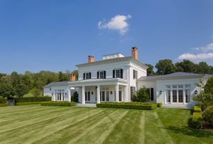 Traditional Exterior of Home with Fence, double-hung window, French doors, Transom window, Gate