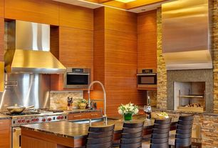 Contemporary Kitchen with Breakfast bar, Flush, Stainless Steel, European Cabinets, L-shaped, Complex granite counters