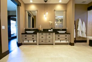 Contemporary Master Bathroom with Vessel sink, Flush, Complex Marble, Double sink, Complex marble counters, Skylight