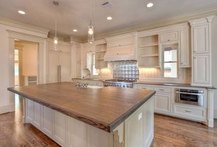 "Traditional Kitchen with Flat panel cabinets, Crown molding, American tin - pattern #3 6"" x 6"" tin tile backsplash, L-shaped"