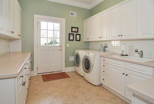Traditional Laundry Room with Front loading dryer, Daltile fantesa cameo 12 in. x 12 in. glazed porcelain floor and wall tile