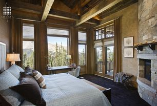 Rustic Master Bedroom with interior brick, Exposed beam, Fireplace, Cathedral ceiling, picture window, Paint 1, Carpet
