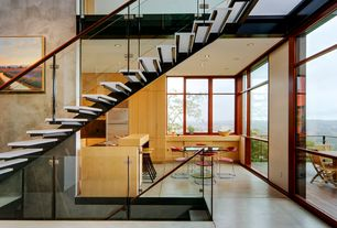 Modern Staircase with Floating staircase, Cathedral ceiling, Hardwood floors
