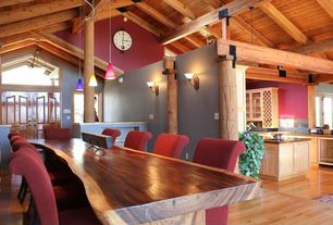 Contemporary Dining Room with Hardwood floors, Pendant light, Built-in bookshelf, Columns, Exposed beam, Wall sconce