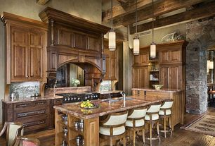 Traditional Kitchen with Kitchen island, High ceiling, Flat panel cabinets, Complex granite counters, Raised panel, Flush