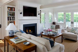 Traditional Living Room with Rejuvenation keystick wall sconce, Wall sconce, Standard height, Fireplace, Crown molding