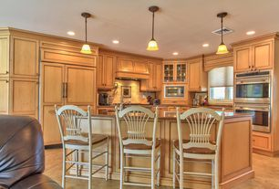 Traditional Kitchen with Stone Tile, Kitchen island, Flat panel cabinets, Simple granite counters, Breakfast bar, L-shaped
