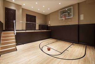 Traditional Home Gym with French doors, Cable railing system - 40ft stainless steel assembly kit, Basketball court