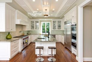 Contemporary Kitchen with Flat panel cabinets, Kitchen island, WOOD MODERN BAR STOOL B 183, Raised panel, Glass panel