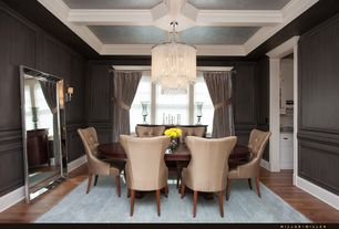 Traditional Dining Room with Hardwood floors, Chair rail, Chandelier, Box ceiling, Wainscotting, interior wallpaper