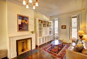 Traditional Living Room with Restoration hardware madeleine side chair, Chandelier, West Elm Dekalk Leather Sofa