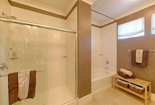 Contemporary Full Bathroom with Crown molding