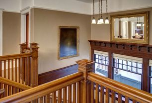Craftsman Staircase with Standard height, curved staircase, double-hung window, Pendant light, Hardwood floors