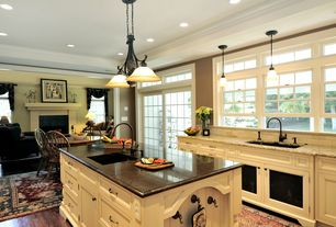 Country Kitchen with Flat panel cabinets, Pendant light, Jasper Hardwood - Smooth European French Oak Collection Gunstock