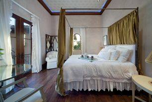 Mediterranean Guest Bedroom with Restoration Hardware Weathered Oak Screen w/ Mirror, French doors, can lights, High ceiling