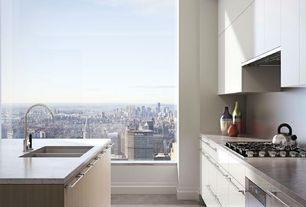 Contemporary Kitchen with Flush, Complex marble counters, One-wall, Kitchen island, Slate counters, Slate, Concrete floors