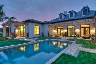 Tropical Swimming Pool with French doors, Other Pool Type, Transom window, Fence, exterior stone floors, Pathway