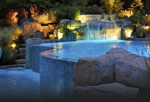 Contemporary Swimming Pool with Water slide, Fountain, Ceramic Tile, Tiered pool, Pool with hot tub