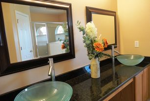 Modern Master Bathroom with Arched window, Vessel sink, Flush, Simple granite counters, Flat panel cabinets, Double sink