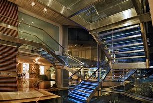 Contemporary Staircase with Glass staircase, High ceiling, Omni Alminum Composite Commercial Glass Panels, Metal staircase