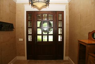 Mediterranean Entryway with Quorum Madeleine 3 Light Inverted Pendant, Glass panel door, Chandelier, interior wallpaper