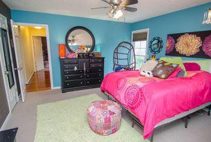 Eclectic Kids Bedroom with Ceiling fan, double-hung window, no bedroom feature, Carpet, Standard height, six panel door