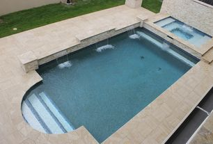 Traditional Swimming Pool with Fountain, Pool with hot tub