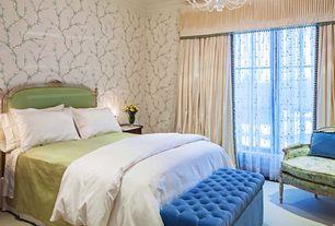 Traditional Master Bedroom with Standard height, specialty window, interior wallpaper, Crown molding, Hardwood floors