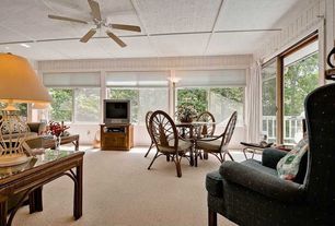 Cottage Great Room with Ceiling fan, Carpet, Acacia Home and Garden Royal Pine End Table