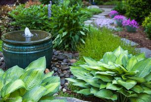 Traditional Landscape/Yard with Hosta, Water fountain, Stone walkway