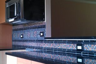 Contemporary Kitchen with Ceramic Tile, Splashback Tile Bahama Blue 13 in. x 13 in. x 4 mm Glass Mosaic Floor and Wall Tile