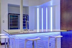 Modern Bar with Wall sconce, Concrete floors, Columns