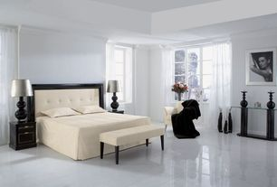 Modern Master Bedroom with Concrete tile , Crown molding
