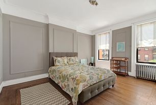 Contemporary Master Bedroom with Hardwood floors, Crown molding