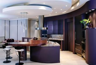 Contemporary Kitchen with Aran Cucine Terra Custom Cabinets, L-shaped, Pendant light, Flush, Wood counters, Breakfast bar