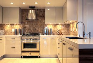 Contemporary Kitchen with can lights, gas range, U-shaped, Standard height, Stone Tile, Wall Hood, Undermount sink, Flush