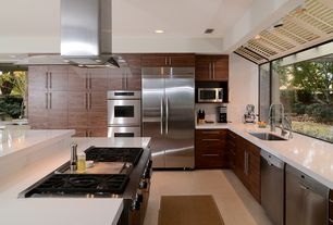 """Contemporary Kitchen with flush light, L-shaped, Flush, can lights, Dacor - MORS230B Classic 30"""" Millennia Double Wall Oven"""