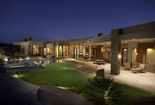 Contemporary Landscape/Yard with Transom window, Exterior accent lighting, French doors, exterior tile floors