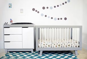 Contemporary Kids Bedroom with no bedroom feature, Babyletto hudson 3-in-1 convertible crib, Standard height, Paint