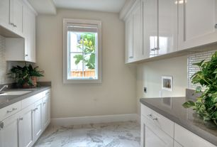 Contemporary Laundry Room with MS International - Greecian White 6 in. x 6 in. Polished Marble Floor and Wall Tile