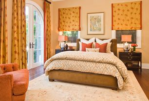 Traditional Master Bedroom with Standard height, Crown molding, Hardwood floors, French doors, Casement