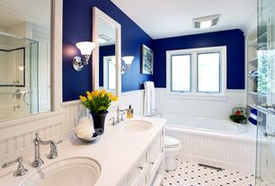 room with Wall sconce, Glass shower, Built in shelves, Bead board, Kohler Kelston Centerset Bathroom Sink Faucet