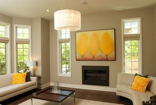 Contemporary Living Room with Pendant light, Laminate floors