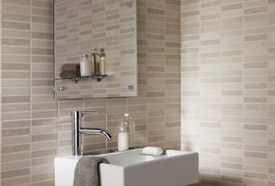 Contemporary Powder Room with High ceiling, Tiled wall, Mirrored medicine cabinet, Neutral color scheme, Wall mount lavatory