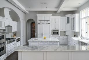 Traditional Kitchen with electric cooktop, Raised panel, Custom hood, Chandelier, Flush, Undermount sink, Kitchen island